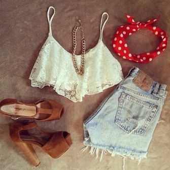 scarf cute shoes tank top top pretty fashion style shorts necklace band flowery clothes heels white lace tank top lace lace flowy top headband nude heels bag dress jewels shirt hat bandeau high waisted shorts high heels t-shirt crop tops red outfit white te tank top polka dots hair accessory blouse white lace croptop bandana demin high waisted shorts brown high heels gold chain white denim spots crop tops cream high waisted ripped red bandana gold wedges brown wedges brown heels summer scarf red
