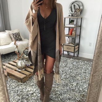 dress outfit sweater boots little black dress short date outfit summer pretty cover brown black black dress bodycon dress asymmetrical cardigan tan poncho coat tassel fringes jacket