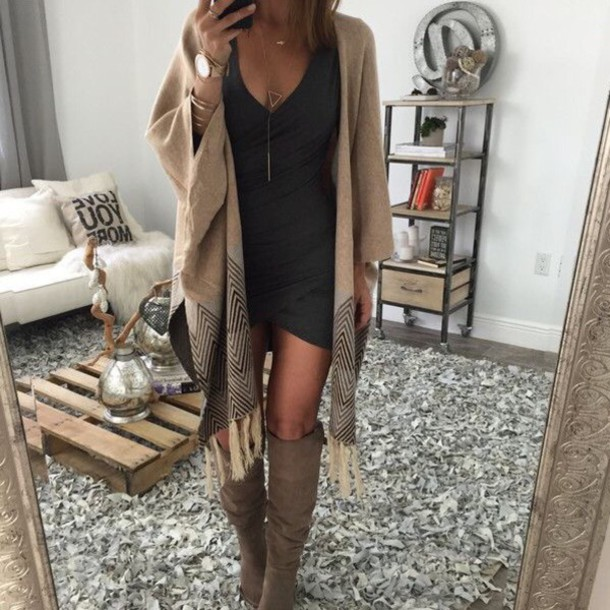 Dress: outfit, sweater, boots, little black dress, short, date ...