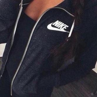 jacket black nike grey zip-up