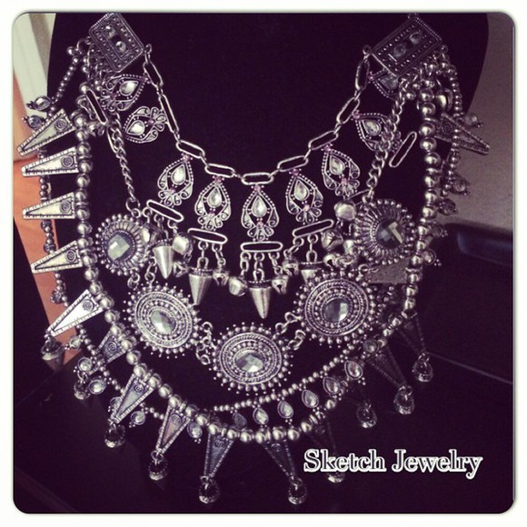 miami jewels necklace instagram sketchjw fashion necklace vintage sketch jewelry crystal quartz look boho statement necklace oversized necklace