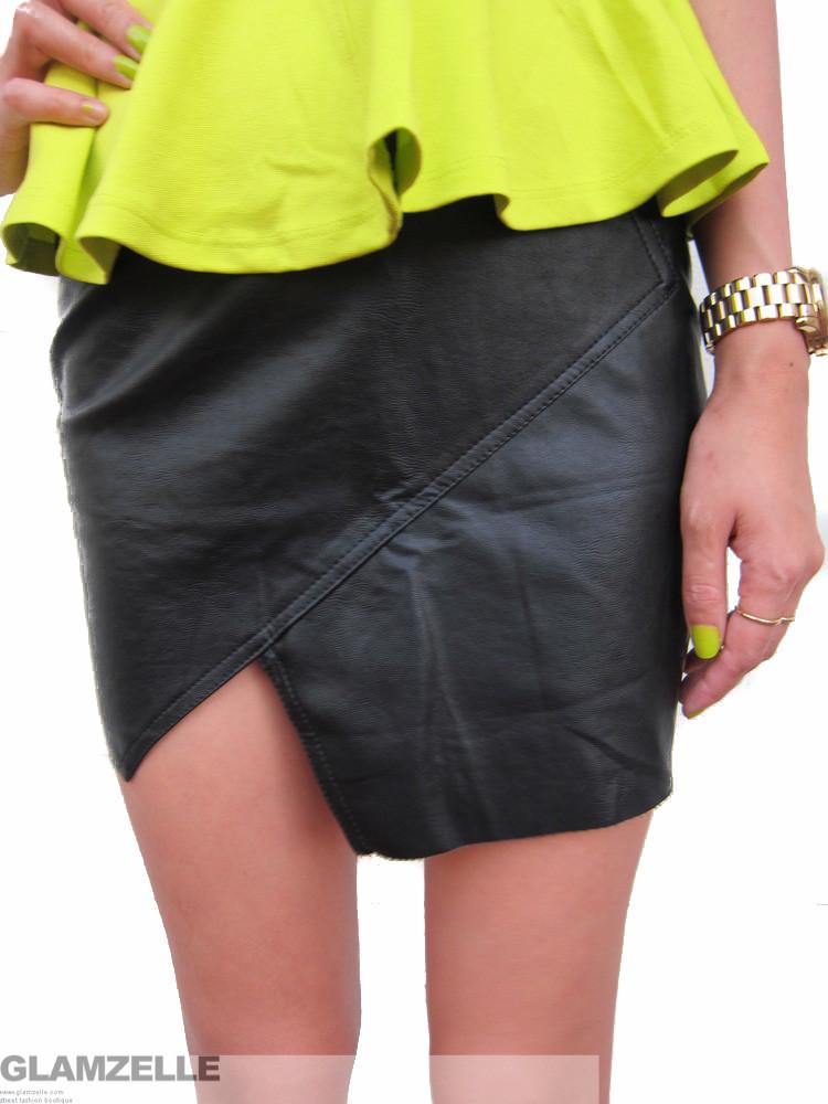 Angled leather skirt – glamzelle