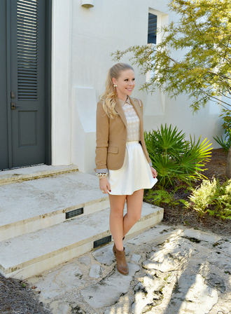 fash boulevard blogger top preppy white skirt blazer