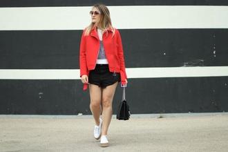 paris grenoble blogger jacket top shorts shoes red jacket espadrilles black shorts black bag