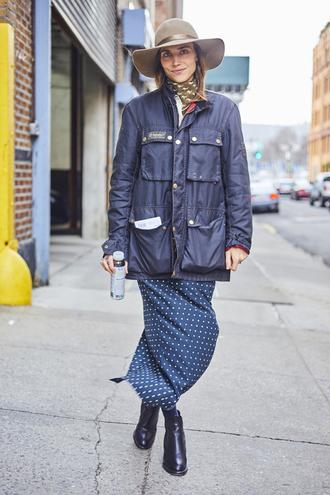 jacket nyfw 2017 fashion week 2017 fashion week streetstyle black jacket hat grey hat skirt maxi skirt polka dots printed skirt boots black boots ankle boots