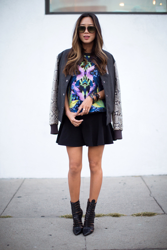 song of style jacket t-shirt skirt shoes sunglasses college snake print grey bomber jacket