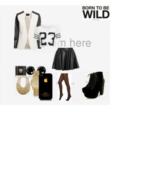 black and white shoes spiked shoes black leather skirt iphone 4s gold