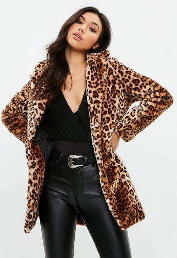 Missguided - Brown Leopard Print Coat