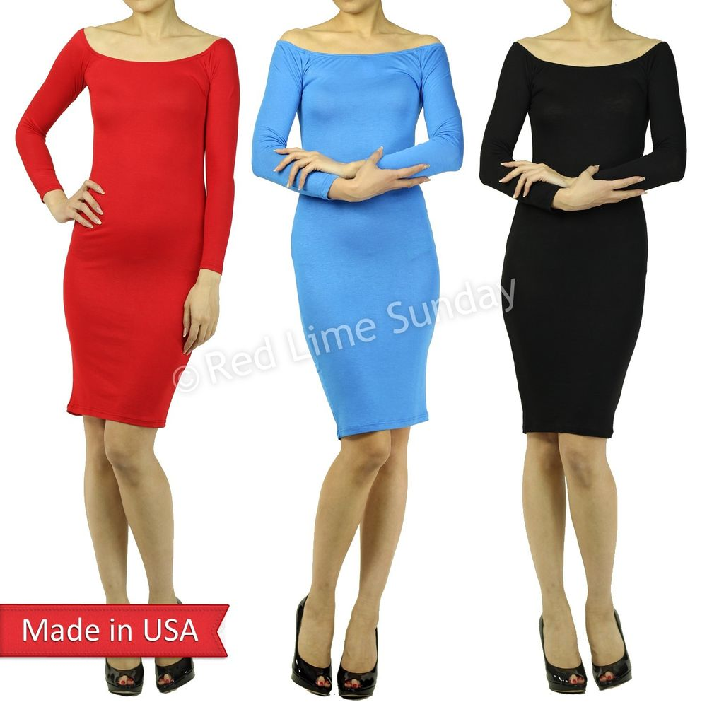 Women Cute Soft Rayon Off Shoulder Long Sleeve Black Red Blue Bodycon Dress USA