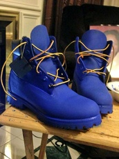 shoes,blue,timberlands,blue timbs,royal blue timberland boots,blue timberlands,dope,fvkin