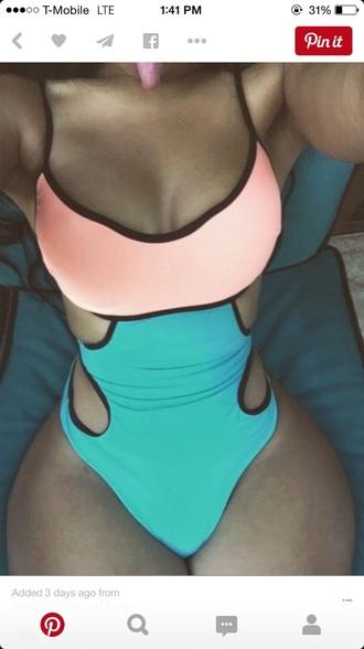 swimwear sexy blue turquoise pink peac bathingsuits