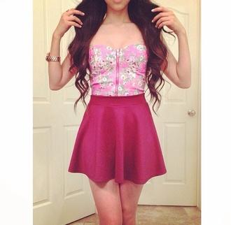 skirt bustier zip burgundy floral top