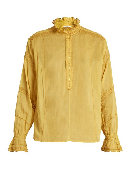Isabel Marant etoile blouse embroidered dark yellow top