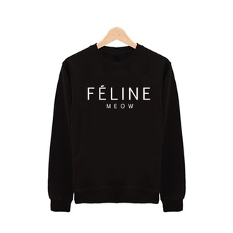 sweater black sweater feline meow cotton t-shirt