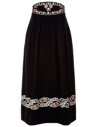 skirt embroidered high black wool