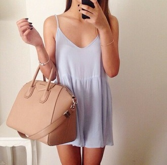dress loose dress light blue bag tan beige purse tote bag leather pleather handbag purple lavender girl style fashion