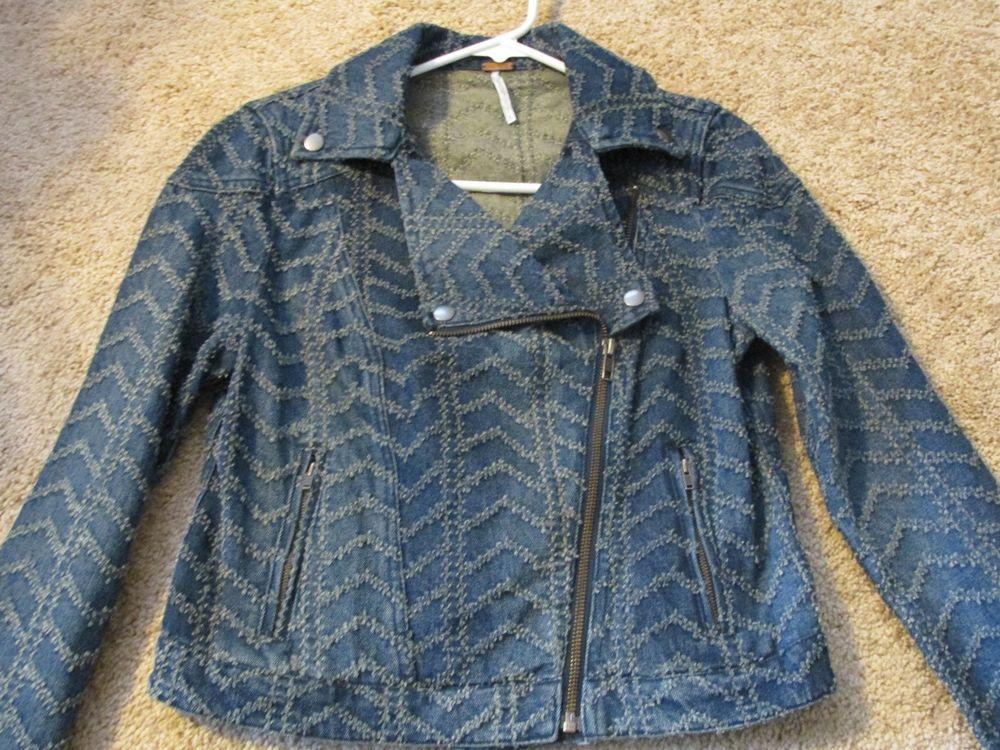 Free People Denim Moto Zip Jacket Size 4 | eBay