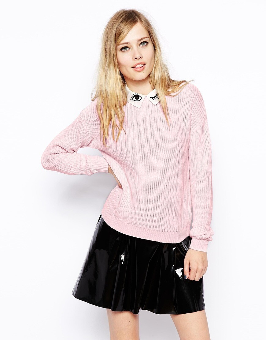 2014 fashion western style cute slim embroidery eye long sleeve M L lapel pink woman's Casual pullover knitwear Sweaters-in Pullovers from Apparel & Accessories on Aliexpress.com | Alibaba Group