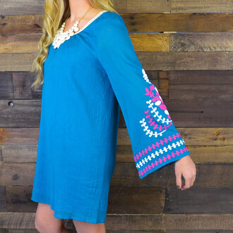 dress teal dress bell sleeves flare embroidered spring outfits