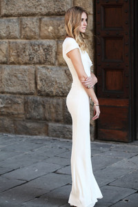 white dress tight dress long dress maxi dress white maxi dress short sleeved chiara blonde salad