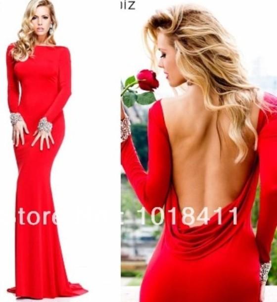 a long red dress evening