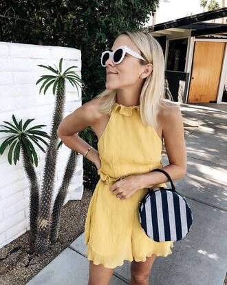 damsel in dior blogger romper sunglasses bag