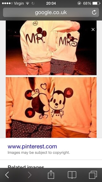 sweater mickey minnie white kiss mrs me relationship hoodies