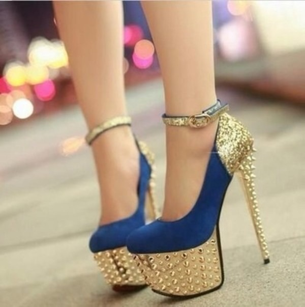 shoes blue and gold sequins