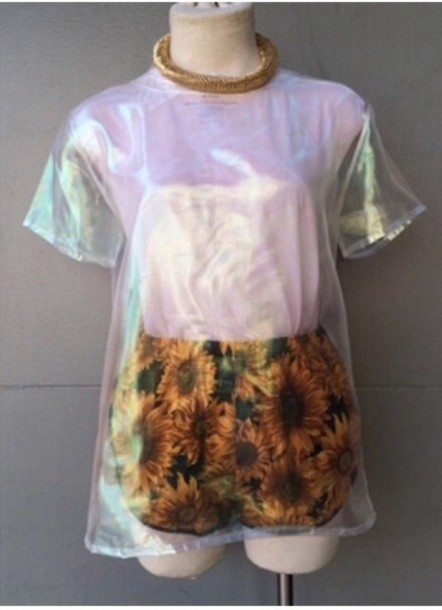 t-shirt holographic pastel grunge indie top cute