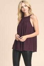 top,plum,sleeveless,gathered,halter neck,embroidered