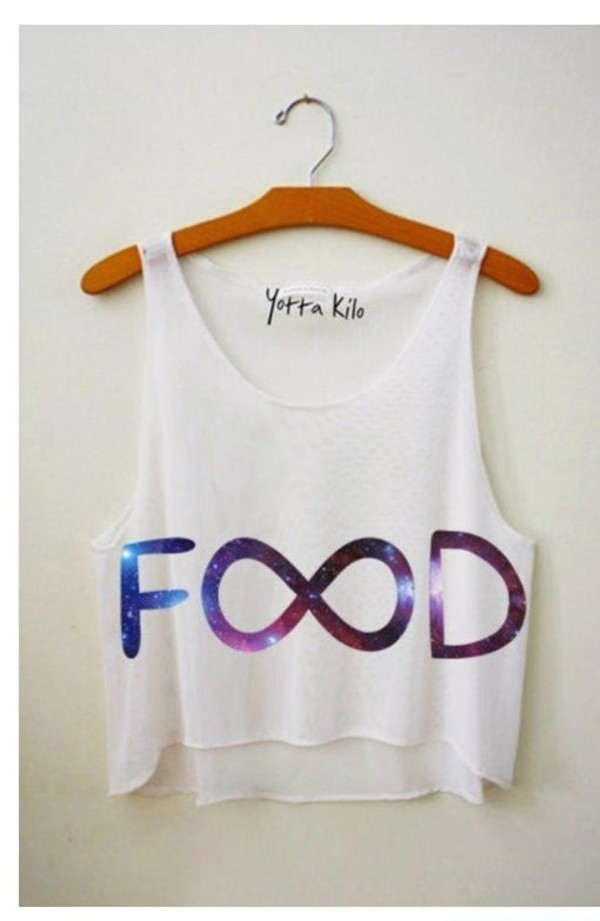 shirt crop tops galaxy print white infinity