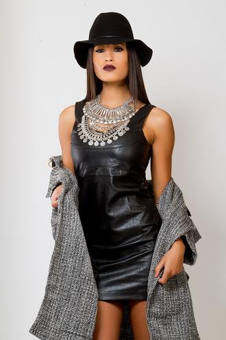 little black dress bodycon dress jewels leather dress faux leather dress