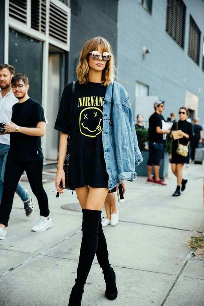 shirt nirvana denim jacket boots shoes knee high boots sunglasses