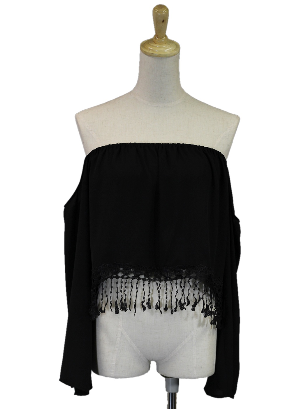 Cotton Candy USA Off Shoulder Crop Blouse With Bottom Fringe Crochet Detail [2Y0035-L] - $30.90 : Alilang, Fashion Costume Jewelry & Accessories Store