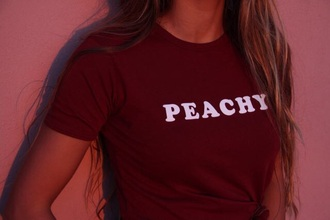 shirt burgundy peachy t-shirt burgundy top peachy shirt red peach top tank top white tumblr 70s style american apparel red top