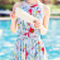 Sexy high neck ruffled print one-piece swimwear for women