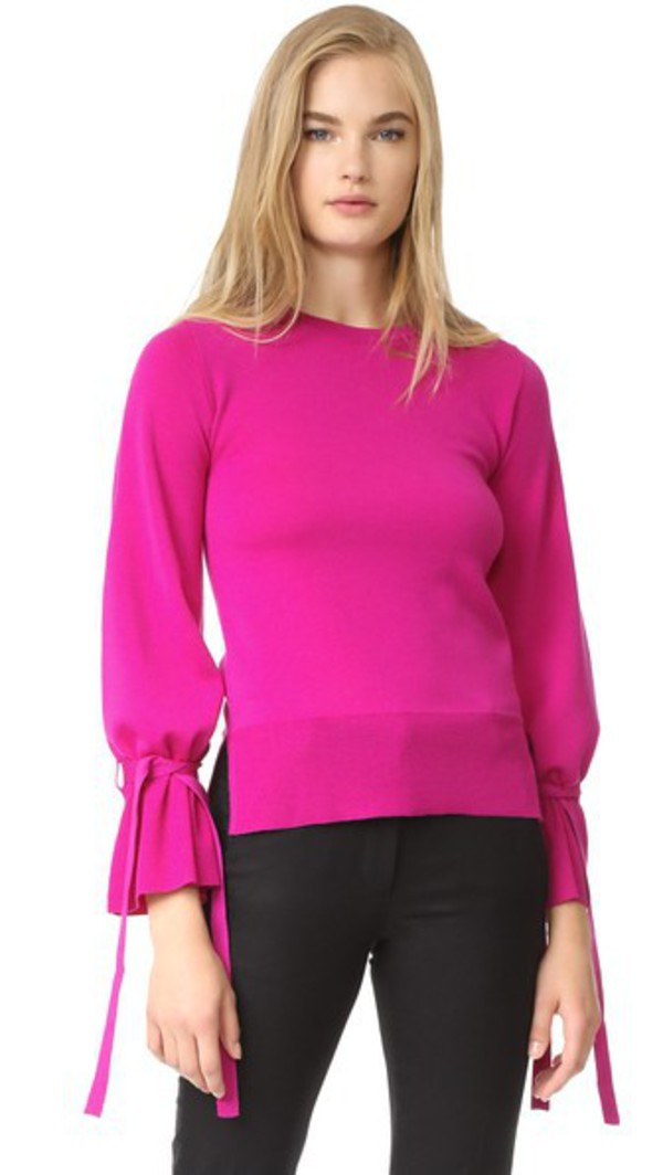 Adam Lippes Bell Sleeve Crew Neck Sweater in fuchsia