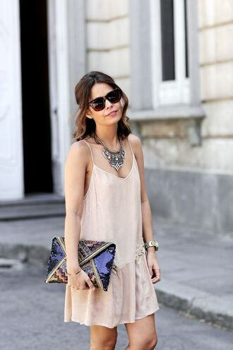 dress nude slip dress slip dress nude dress short dress summer dress sunglasses clutch envelope clutch statement necklace necklace spaghetti strap spaghetti straps dress collage vintage blogger jewels metallic clutch