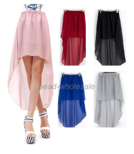 New Fashion Lady's High Low Skirt Long A Line Summer Sheer Cute Chiffon Dress | eBay