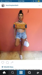 blouse,kourtney kardashian,crop tops,boho chic,top,shoulderless,pretty,summer,kourtney kardashian cuba