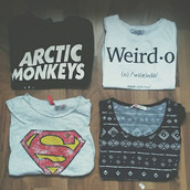 t-shirt,weirdo,superman,arctic monkeys,style,superheroes,top,t-shirt with print,sweater,shirt,grunge,grunge t-shirt,pale grunge,white,tumblr,instagram,weheartit,cute,adorable outfit