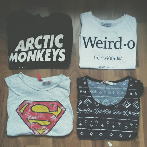 t-shirt weirdo superman arctic monkeys style superheroes grunge indie boho t-shirt band band t-shirt top t-shirt with print sweater shirt grunge t-shirt pale grunge white tumblr instagram weheartit cute adorable outfit