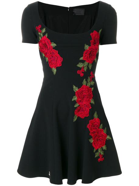PHILIPP PLEIN dress skater dress women spandex skater floral black