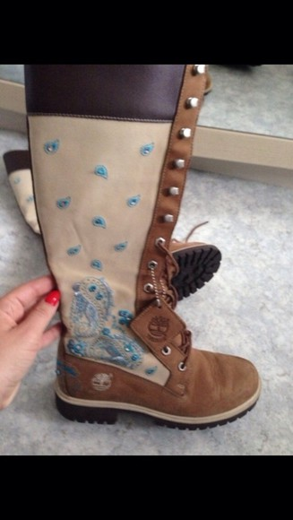 brown shoes brown leather boots timberland boots shoes timberlands floral