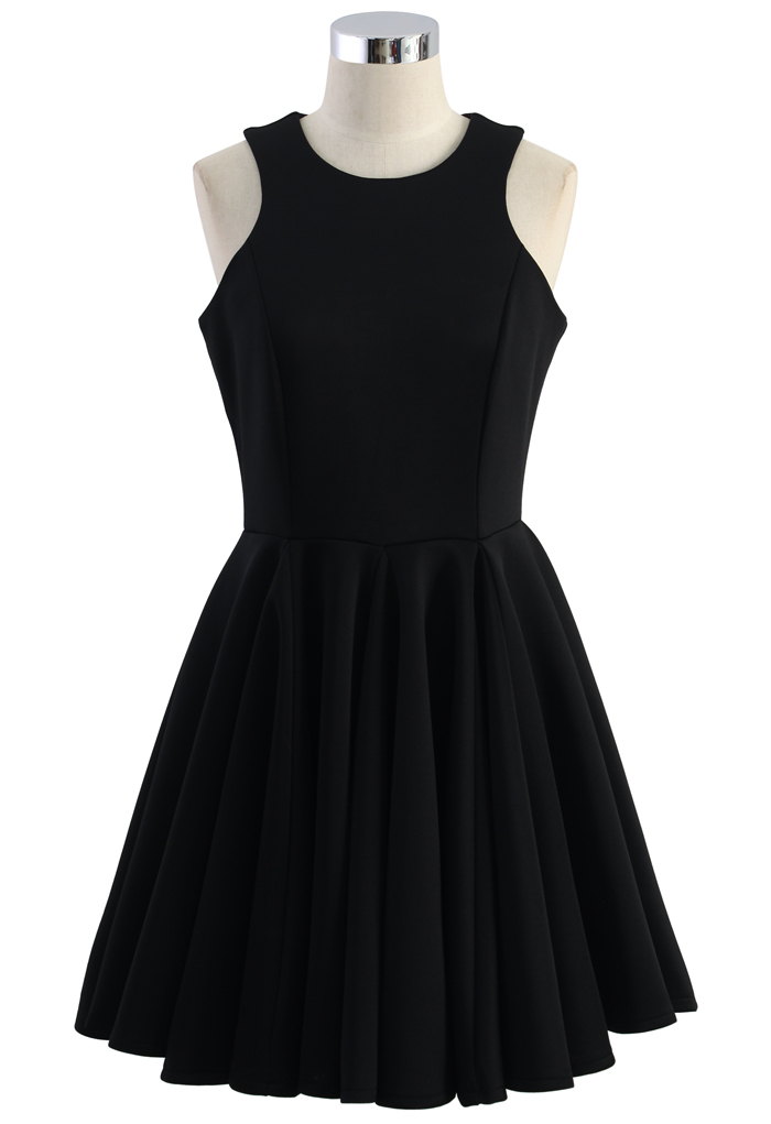 Simply Black Pleated Skater Dress - Retro, Indie and Unique Fashion
