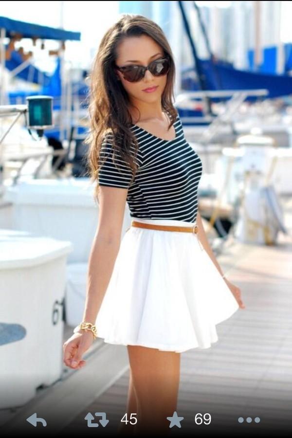 skirt white classy shirt white skirt skater skirt