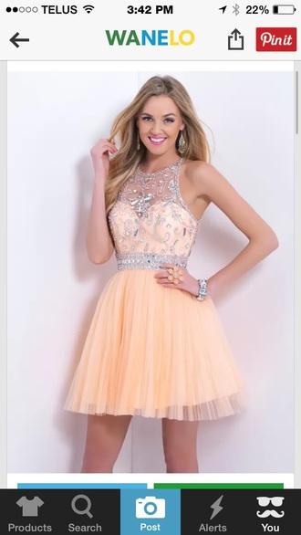dress peach dress prom dress graduation dress sparkly dress high heels