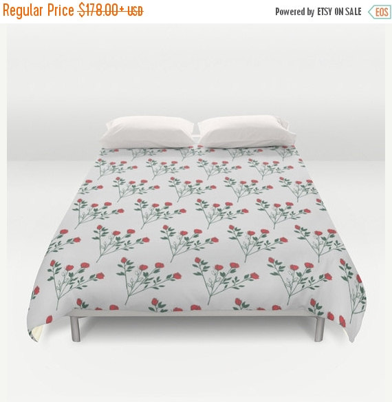 ON SALE Duvet Cover Floral Bedding Rose Shabby Chic Decorative Home Interior Decoration