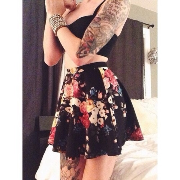 skirt black floral blouse shirt