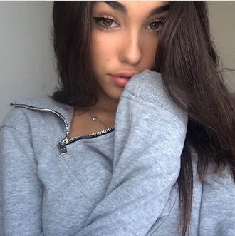 madison beer sweater celebrity style zip grey sweater long sleeves comfy women jacket shirt